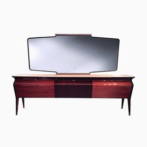 Italienisches Mid-Century Palisander Sideboard mit Spiegel von Osvaldo Borsani, 1950er