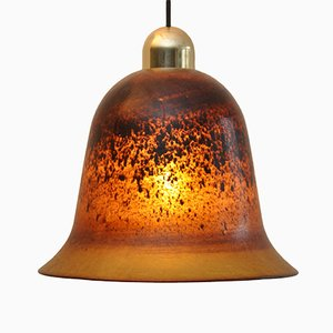 Glas Hängelampe in Glockenform von Peill & Putzler, 1972