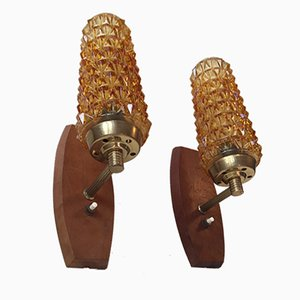 Danish Brass, Teak & Glass Sconces by Svend Mejlstrøm for Mejlstrøm Belysning, 1960s, Set of 2