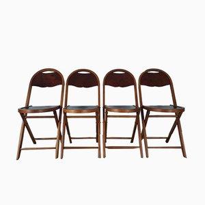 Klappstühle aus Mahagoni mit furnierten Sitzen, 1900er, Set 4