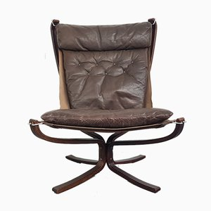 Vintage Brown Leather Falcon Chair by Sigurd Resell, 1960s