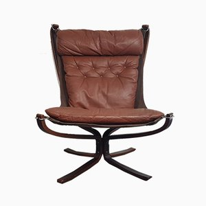 Vintage Brown Leather Falcon Chair by Sigurd Ressell