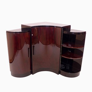 Art Deco Wave Shaped Corner Cabinet, 1930s