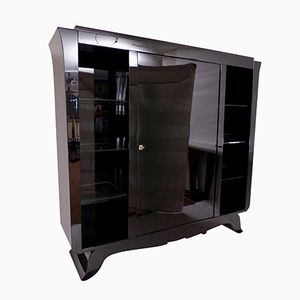 Large Art Deco Black-Lacquered Bar Cabinet with Rotating Door, 1930s