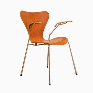 Silla modelo 3207 de teca de Arne Jacobsen para Fritz Hansen, 1955