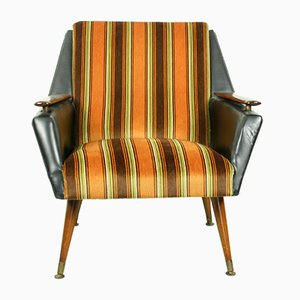 Vintage Armchair with Brass Legs, 1960s