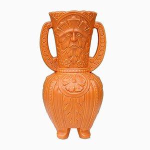Vase avec Homme Vert en Relief avec Double Poignées en Céramique, 1950s