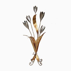 Florale Stehlampe in Gold & Silber, 1970er