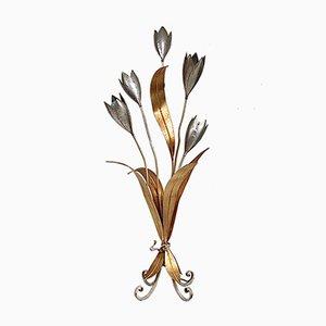 Lampada da terra con fiori color oro e argento, anni '70