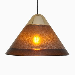 Brass and Glass Pendant Lamp from Peill & Putzler, 1972