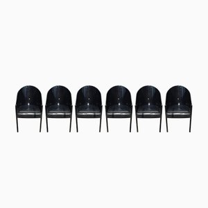 Italian Black Coste Chairs by Phillipe Starck for Driade, 1980s, Set of 6