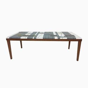 Tavolino da caffè in vetro con mosaico di Heinz Lilienthal, anni '60