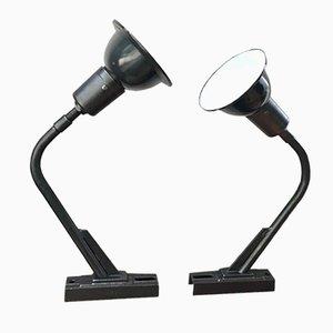 Französische emaillierte Metall Lampen, 1940er, 2er Set
