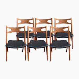 CH29 Teak Sawbuck Chairs von Hans J. Wegner für Carl Hansen & Søn, 1959, 6er Set