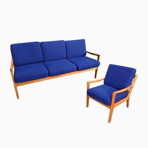 Vintage Teak Senator Sofa & Lounge Chairs by Ole Wanscher for Cado
