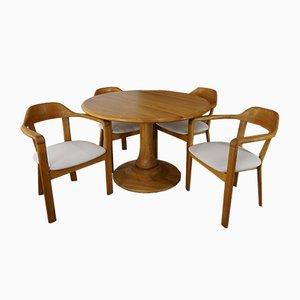 Runder Tisch mit 4 Eichenholz Stühlen, 1980er