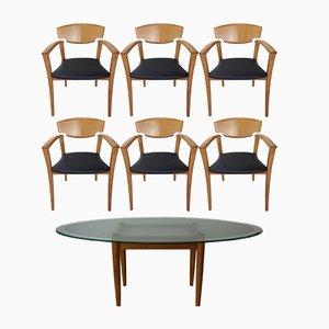 Ovaler Tisch mit 6 Armlehnstühlen, 1980er