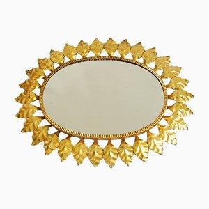 French Brass Golden Leaf Mirror, 1940s