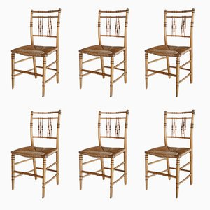 Chaises en Faux Bamboo 19ème Siècle, Set de 6