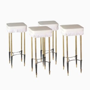 Hollywood Regency Bar Stools, 1950s, Set of 4