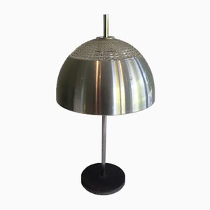 Lámpara de mesa vintage de vidrio y acero inoxidable, años 70