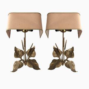 Apliques de bronce con hojas y espigas de trigo, años 60. Juego de 2