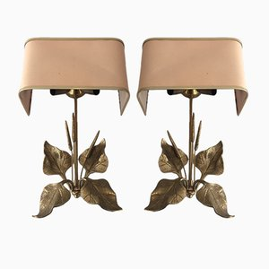 Bronze Sconces with Ears of Wheat & Leaves, 1960s, Set of 2
