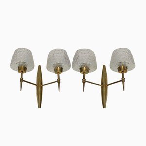 Bronze Sconces with Glass Reflectors from Stilnovo, 1960s, Set of 2