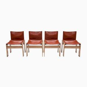 Chaises Monk Vintage par Afra & Tobia Scarpa pour Molteni, Set de 4