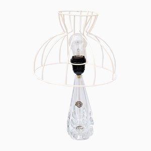 Französische Kristallglas Tischlampe von St. Louis, 1940er