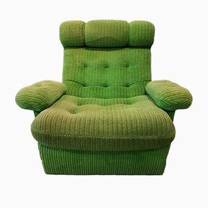 Sillón vintage de terciopelo verde, años 70