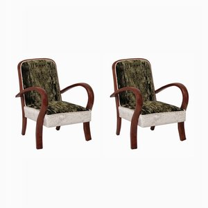 Art Deco Cherry & Velvet Armchairs, 1930s, Set of 2