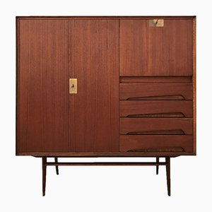 Italian Teak Wood Sideboard with Secretaire by Vittorio Dassi & Palutari, 1950s