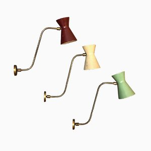 Set of 3 Double-Coned Sconces from Stilnovo, 1950s