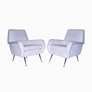 Mid-Century Italian White Armchairs, 1950s, Set of 2