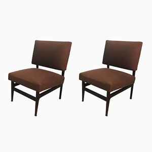 Mid-Century Italian Mahogany Lounge Chairs by Vittorio Dassi & Edmondo Palutari, 1950s, Set of 2