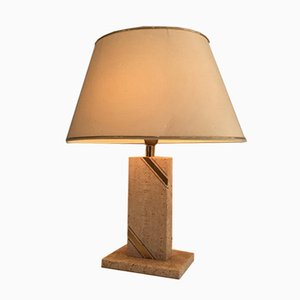 Travertine Table Lamp with Brass Ornaments, 1970s