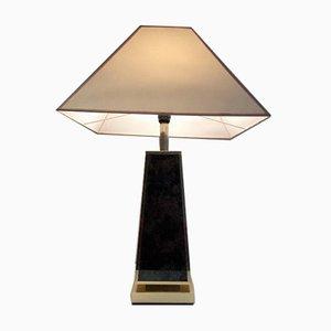 Lámpara de mesa en forma de pirámide dorada, años 70