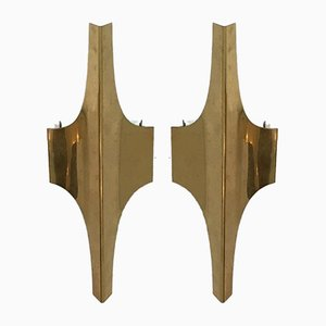 Brass Wall Sconces, 1960s, Set of 2