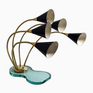 Lampe de Bureau à 5 Éclairages avec Socle en Verre, 1960s