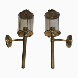 Brass & Glass Lantern Wall Lamps, 1940s, Set of 2
