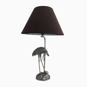 French Silvered Heron Lamp from Maison Bagues, 1960s