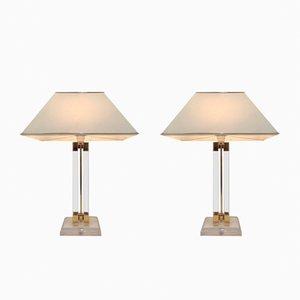 Lampade vintage in lucite e dorate, anni '70, set di 2