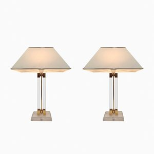 Vintage Lucite & Gilded Lamps, 1970s, Set of 2