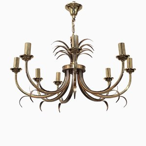 Brushed Steel and Brass Pineapple Chandelier from Maison Charles, 1970s