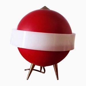 Lampada da tavolo Mid-Century rossa di Angelo Brotto per Esperia, Italia, anni '50