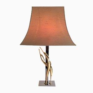 Lámpara de mesa de bronce y cromo con esculturas de pájaros, años 70