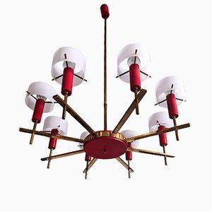 Lámpara de araña italiana Mid-Century de 8 luces de Angelo Brotto para Esperia, años 50