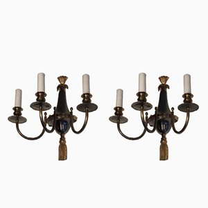 Wandlampen mit 3 Leuchten aus Bronze & gebürstetem Metall, 1960er, 2er Set