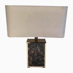Lampada da tavolo in vetro colorato e metallo dorato, anni '70
